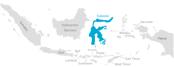 Map of Sulawesi in Indonesia