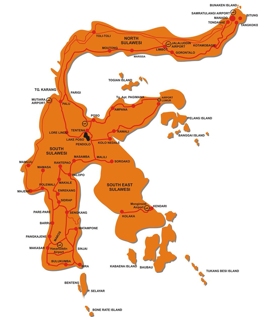 Travel map of Sulawesi, Indonesia